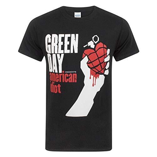 Green Day - Camiseta Modelo American Idiot para Hombre (M/Negro)