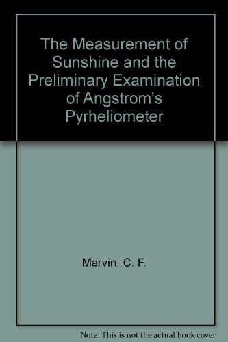The Measurement of Sunshine and the Preliminary Examination of Angstrom's Pyrheliometer