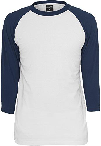 Preisvergleich Produktbild URBAN CLASSICS TB366 Contrast 3/4 Sleeve Raglan Tee langarmshirt, Größe:M;Farbe:wht/nvy