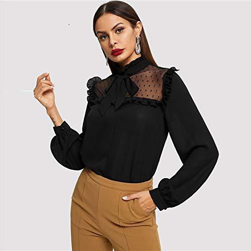 LIULINUIJ Black Tie Neck Dot Mesh Joch Top Stehkragen Langarm Plain Bluse Frauen Herbst Elegante Arbeitskleidung Minimalistische Blusen Plain Black Tie