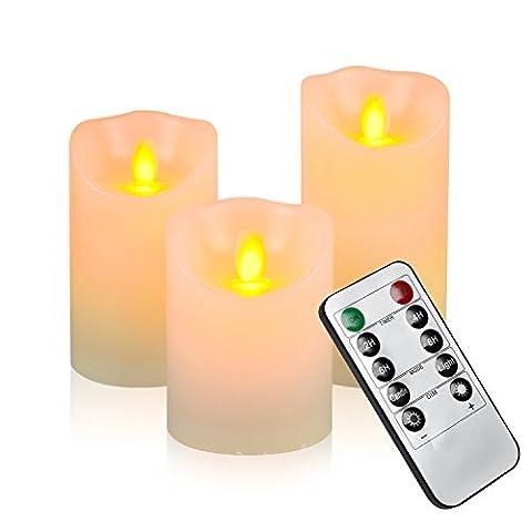 Samoleus Bougies à LED de avec le déplacement de flamme - effet flamme réelle vraie cire LED bougie avec 10 touches de la télécommande et minuterie [bougie pilier classique, couleur ivoire] - Pack de 3 (Blanc chaud)
