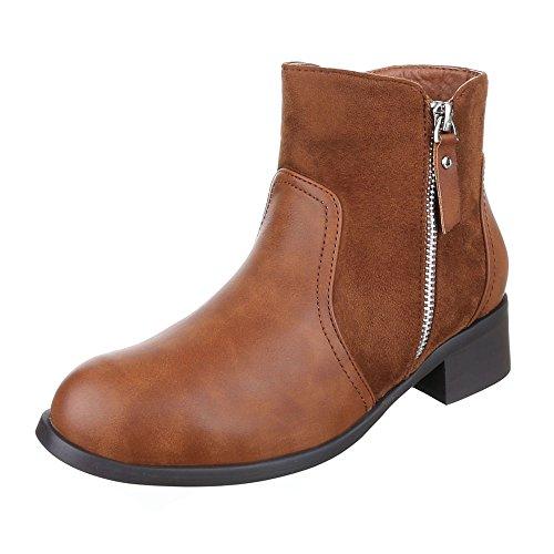 Komfort Stiefeletten Damen Schuhe Schlupfstiefel Blockabsatz Leicht Gefütterte Reißverschluss Ital-Design Stiefeletten Camel