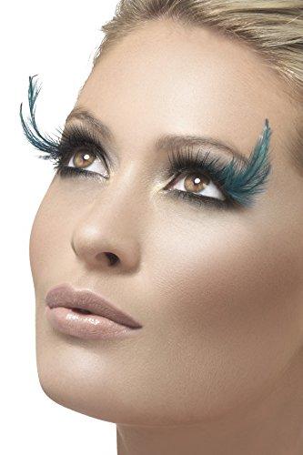 Maske Blauen Kostüm Feder - Smiffy's - Wimpern, Schwarz und Grün