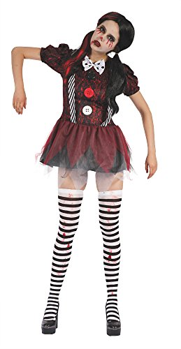 Bristol Novelty AF036 Creepy Puppe Kleid, UK Größe 10–14 (Clown Puppe Kostüme)