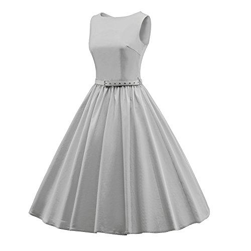 LUOUSE 'Audrey' Hepburn Stil Vintage Clarity Kleid im 50er-Jahre-Stil V031-Grau