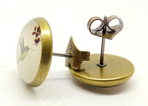 Vintage Schmuck Hypoallergen 14mm Cabochon Kolibri Ohrstecker Ohrringe für Damen Nickelfrei - 5