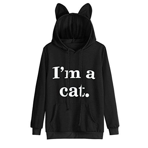 Preisvergleich Produktbild YOUBan Damen Sweatshirt Katze der Frauen Langarmshirt Hoodie Kapuzenpullover Sweatshirt Oberteil Tops Stilvolle Kleidung Bluse Winter