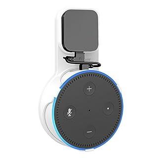 ProCase Outlet Wandhalterung Kleiderbügel für Amazon Echo Dot 2. Generation (2017 Version), keine unordentlichen Drähte oder Schrauben, kompakte platzsparende Halter Plug in Badezimmer Schlafzimmer und Küchen –Weiß