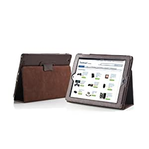 TeckNet® New iPad 4, iPad 3 & iPad 2 Premium Folio Leather Case / Cover and Flip Stand With Built-in Magnet for Sleep / Wake Feature + Screen Protector For New Apple iPad 4th Generation, iPad 3 & iPad 2 - Brown