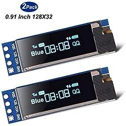 Goosky 2pcs I2C OLED Módulo de Pantalla 0.91 Pulgadas I2C SSD1306 OLED Módulo de Pantalla Blanco I2C OLED Controlador de Pantalla DC 3.3V ~ 5V para Arduino (2pcs)