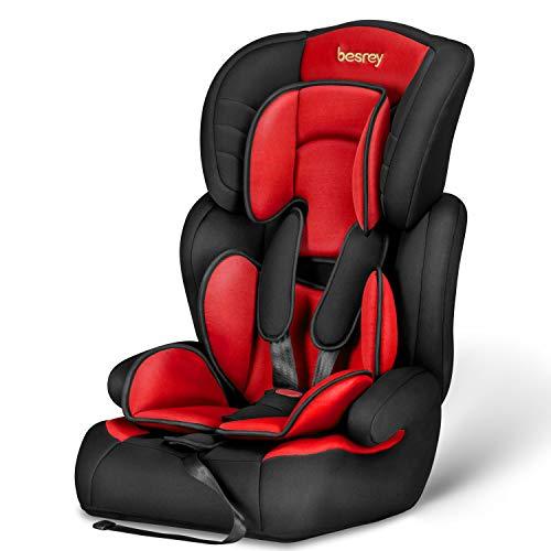z Fix-Kindersitz 9-36kg Auto Kindersitz für Kinder 9 Monaten - 12 Jahre, Autositz Gruppe 1/2/3, ECE R44/04 (Schwarz-Rot) ()