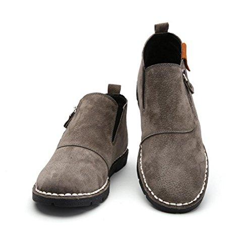 WZG New fallen in mit Hilfe von Freizeitschuhe Leder Herren britischen Seite Reißverschluss handgemachte Schuhe ein Pedal flache Schuhe gray