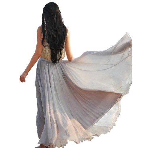 Oneworld Damen Frauen lang Chiffon Bohemien Bodenlang Maxi Rock Strandkleider Kleider einfarbig Frühling Sommer Grau