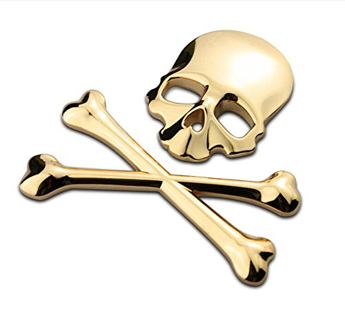 Logo 3D New Golden os du crâne os croisés Crâne os Métal emblème badge autocollant Decal