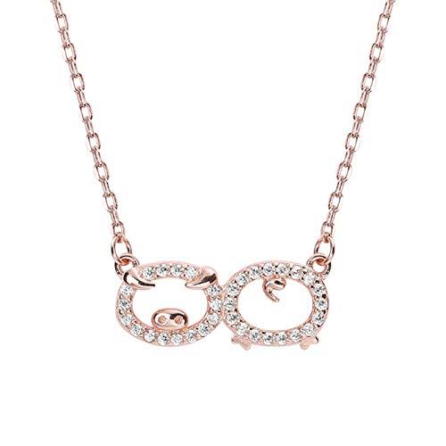 Silber Damen Mädchen Anhänger Halskette Cubic Zirkonia Schwein Halskette Rose Gold ()
