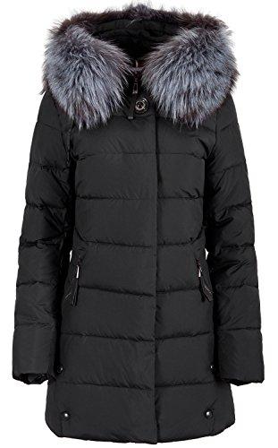 816 Damen Winterjacke mit Echtfellbesatz (40, schwarz)