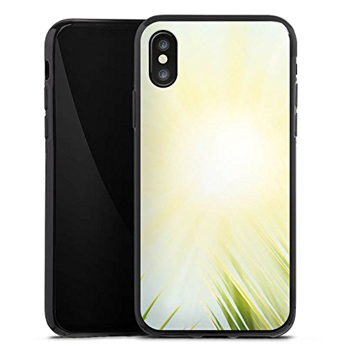 Apple iPhone X Silikon Hülle Case Schutzhülle Palme Sonne Urlaub Silikon Case schwarz