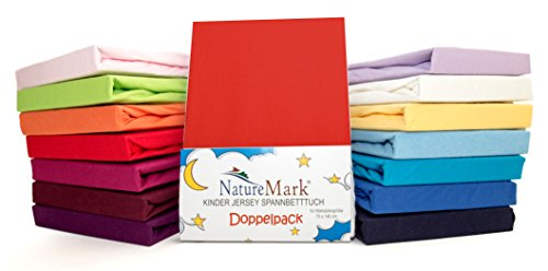 Pack of 2 x Children's Jersey Fitted Bed Sheets for Cot Mattresses