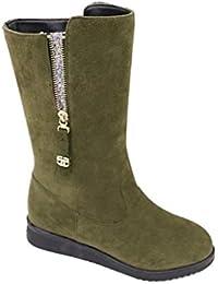 Ouneed Botas Mujer, Forme a Mujeres de Las Señoras Las Botas Ocasionales de La Piel calientan Los Zapatos Calientes de La Nieve (40, Negro)