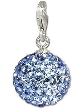 SilberDream Glitzer Charm Swarovski Kristalle Kugel hellblau SHINY Anhänger 925 Silber für Bettelarmbänder Kette...