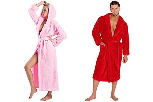Ein Set bestehend aus 2 Bademänteln ist ein ideales Geschenk, für den gemeinsamen Wohlfühlfaktor in kalten Nächten. (XS-2XL) Rot/Rosa