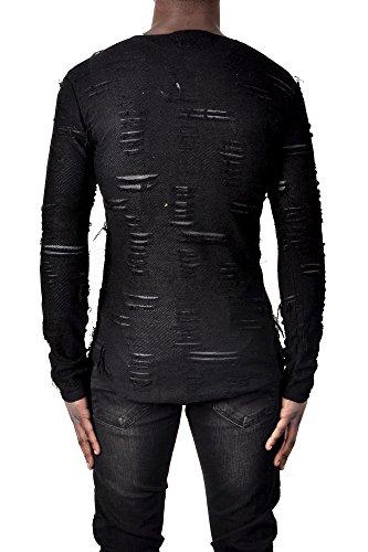 Herren Slim-Fit Sweater Destroyed Pullover Sweatshirt ein garant für alle Blicke Schwarz