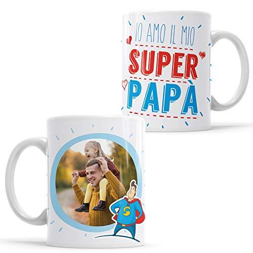 Lamaglieria tazza personalizzata con la tua foto io amo il mio super papà! - custom mug in ceramica festa del papà - cod. des12