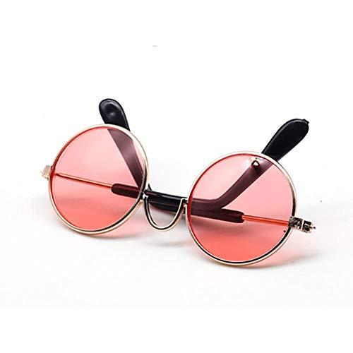 1Pcs Bunte Metall Sonnenbrillen Für Amerikanische Puppe Mini-Gläser Zubehör Runden Brille Props (Pink)