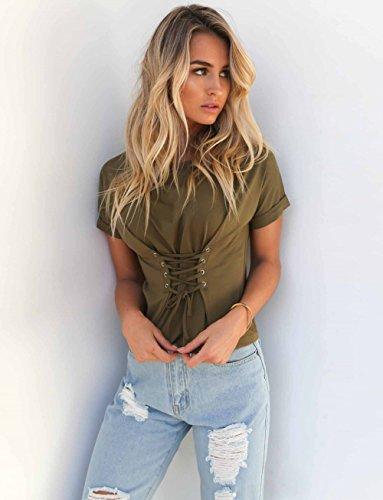 Minetom Donna Estate Camicetta Sexy Sportiva Girocollo Maglietta Spalle Scoperte Manica Corta Cintura Tunica Blusa Basic T Shirt Tops Verde