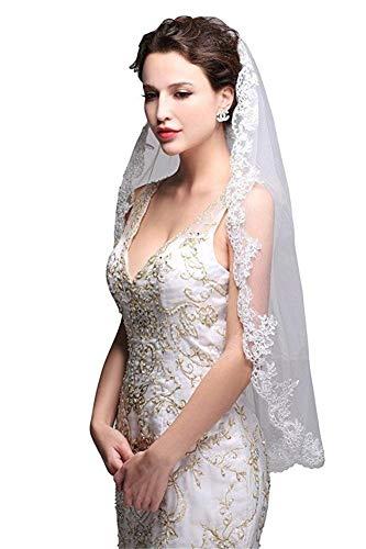 MAXTS Brautschleier Einfache und Elegante Spitze Applique Hochzeit, Braut Single Layer Lace Veil Brautkleid Zubehör