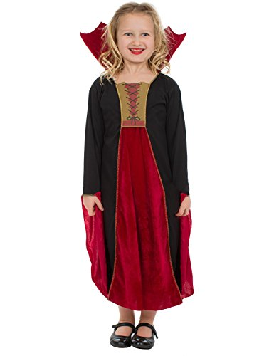 Vampir Kostüm für Kinder Mädchen Halloween Karneval Fasching Verkleidung (Gothic Kostüme Vampirin Kind)