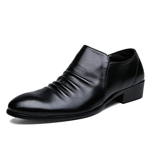 Shengjuanfeng Oxford Schuhe für männer Slip auf Stil mikrofaser Leder Formale Schuhe Bequeme reißverschluss persönlichkeit Falten (Color : Schwarz, Größe : 38 EU) Formale Slip