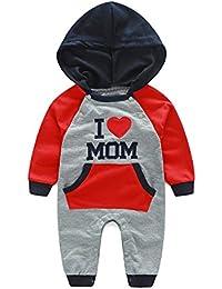 b6c04e564 JIANLANPTT Cute Baby Boy Girl Long Sleeve Hoodie Romper Outfits I Love MOM  18-24months