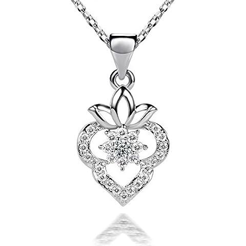 Ujewelry con fragola in argento puro 925, con pendente in Zirconia cubica, lunghezza collana 45 cm - Fragola Collana