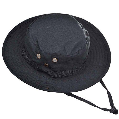 Forepin® Militare Camouflage Style Boonie Cappello Outdoor Pesca Escursionismo Caccia Canottaggio Wide Brim Hat protezione di Sun, progettato per proteggere la testa dal sole e sabbia (nero)