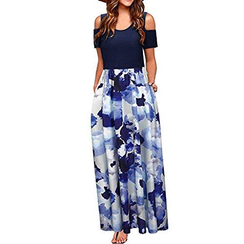 Hem Midi Skirt (GOKOMO Damen Hose Größe Baumwolle Leinen Kleid Top Frauen Casual V-Ausschnitt Kurzarm Solide Knielangen Split Hem Kleider Damen Casual Lose Maxikleider(M-L3)(Blau-a,Medium))