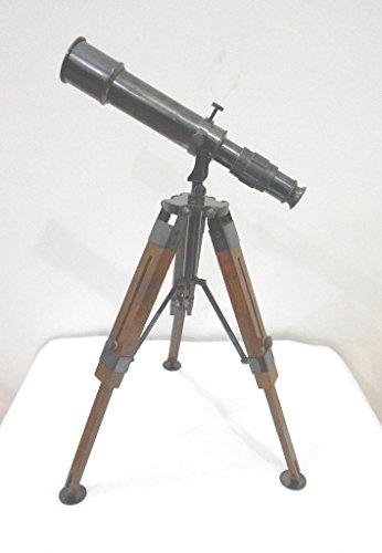 Thor Instruments C. Nautisches Teleskop, Dekoration für zu Hause, Vintage-Stil, mit Dreibeinständer aus Holz (Thor Dekorationen)