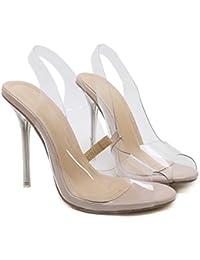 Damen Peep Toe Stiletto Heels Sandalen Frauen Transparent Kristall Ausgeschnitten Slingback Hochzeit Prom Party...