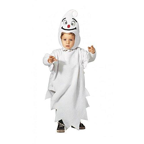 shoperama Kinderkostüm Kleines Gespenst für Mädchen und Jungen Halloween Overall und Mütze Geist Kostüm, Kindergröße:110