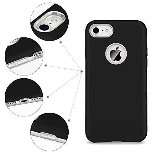 Cover iPhone 7 / iPhone 8 (4.7 Pollici) Spiritsun iPhone 8 Custodia TPU+PC Handy Moda Elegante Case Cover Soft + Hard Silicone Back Cover Protezione Bumper Funzione Shell Morbida Flessible TPU Cover P Nero