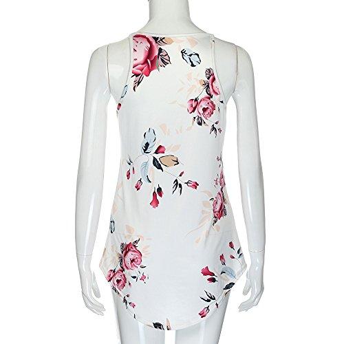 Youngii shirt sans manche femme, mprimé Floral Blouse Lâche Tee Shirt Tops Chic C