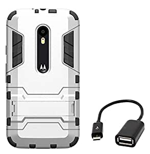 Chevron Hybrid KickStand Armor Protective Shockproof Back Cover for Moto G 3rd Generation with Micro OTG Cable (Silver)