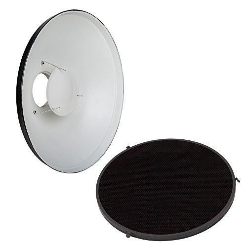 PhotoSEL FRB70BH 70 cm Beauty Dish mit Wabenraster und Diffusor Innen weiß