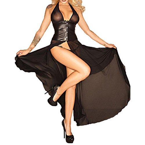 HCFKJ 2018 Mode Damen Verführerische Dessous Kunstleder Bodysuit siamesische Versuchung (B) (Latex-bodysuit Weiß)
