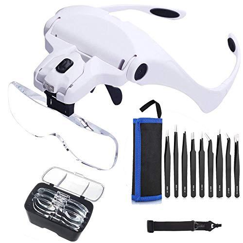 LED Kopfband Lupenbrille mit 9 Teillige Präzise ESD Pinzette, Queta Led Kopfband Lupen Lampe Stirnband Brille Lupen für Lesen, Juweliere und Reparieren, 5 Austauschbare Linsen, Weiß (Brille Juweliere)