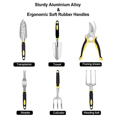 Strunmenti Attrezzi, Set da Giardino,Garden Tool set 6 Utensili in Lega di Alluminio con Manici Ergonomici,con un Durevole Jean Tessuto Borsa - 2