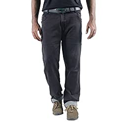 0-Degree Mens Cotton Jeans (Jemagrey36 _Grey _36)