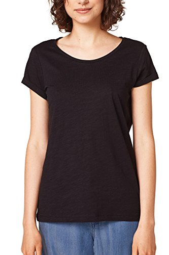 edc by ESPRIT Damen T-Shirt 068CC1K055, Schwarz (Black 001), Medium