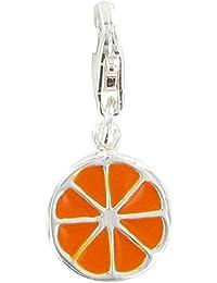 Joyas Les Poulettes Charms Dijes Rodajas de Naranja con Plata de Ley y Esmalte