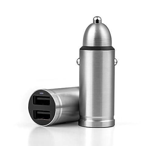 Suntapower en acier inoxydable 2ports USB chargeur de voiture, charge rapide pour appareil mobile, compatible avec iPhone 7/7Plus/6/6S/6S Plus/5se/5S, Samsung Galaxy S7/S6et